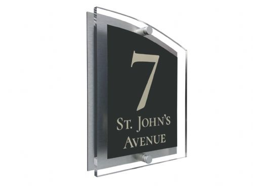 Arc Shape - Clear Acrylic House Sign - Anthracite Colour with Double Cream text in Font  2